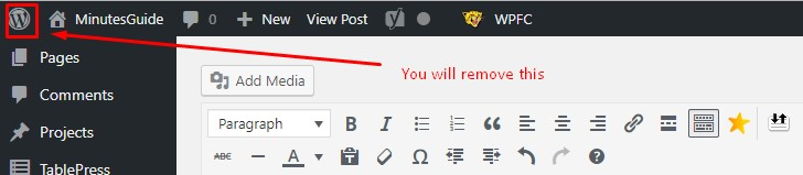 remove wordpress logo